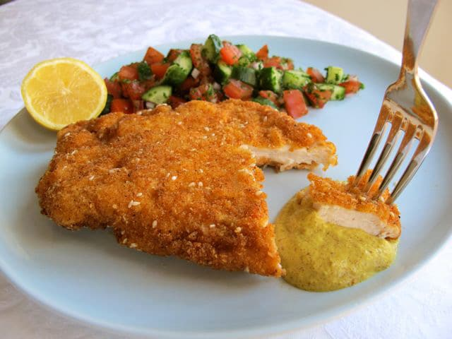 Chicken Schnitzel - Traditional Israeli recipe for golden, crispy fried chicken breasts. Kosher, meat.