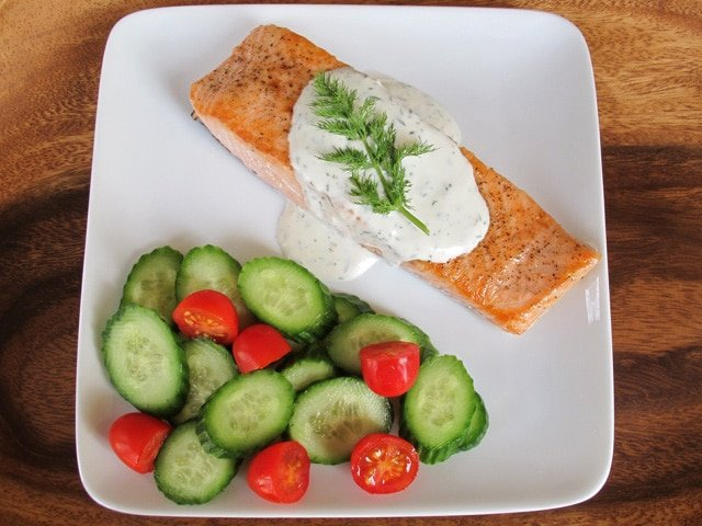 seared salmon with creamy dill sauce 10 ingredients 4 boneless salmon ...