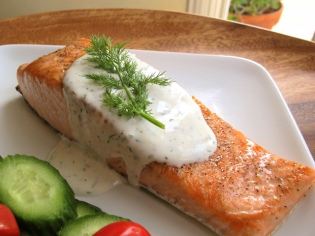 Seared Salmon with Creamy Dill Sauce - Recipe for crispy seared salmon topped with a creamy fresh dill sauce. Stove to table in 20 minutes. Healthy, gluten free, kosher for Passover.