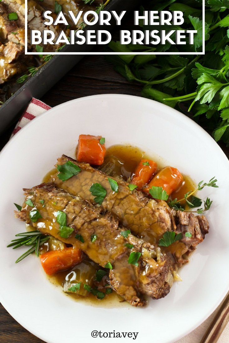 Savory Herb Braised Brisket - Simple recipe for mouthwatering brisket with fresh herbs. Slow cooked tender holiday brisket. Kosher for Passover, Meat. #brisket #roshhashanah #passover #jewishholidays #kosher #kosherrecipes #jewishrecipes #herbs