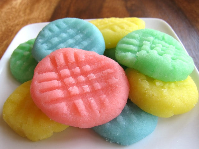 Cream cheese candies on a plate.