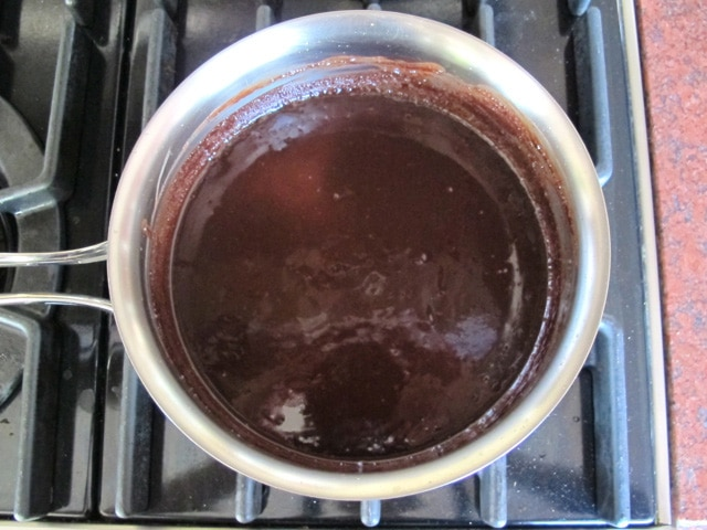 Butter and chocolate melted in a saucepan.