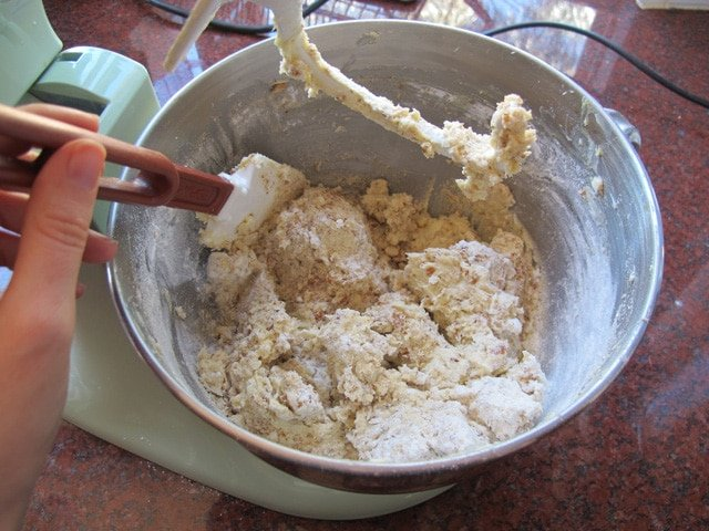 Adding dry ingredients to stand mixer until a dough forms.