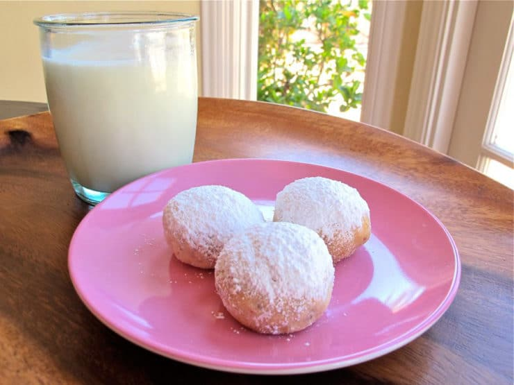 Greek Butter Cookies - This authentic recipe for Rena Carasso's Kourabiedes, aka Greek Butter Cookies, appears in the Holocaust Survivor Cookbook. Kosher, Dairy.