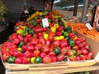 Fresh kibbutz-grown bell peppers at the Carmel Market in Tel Aviv, Israel