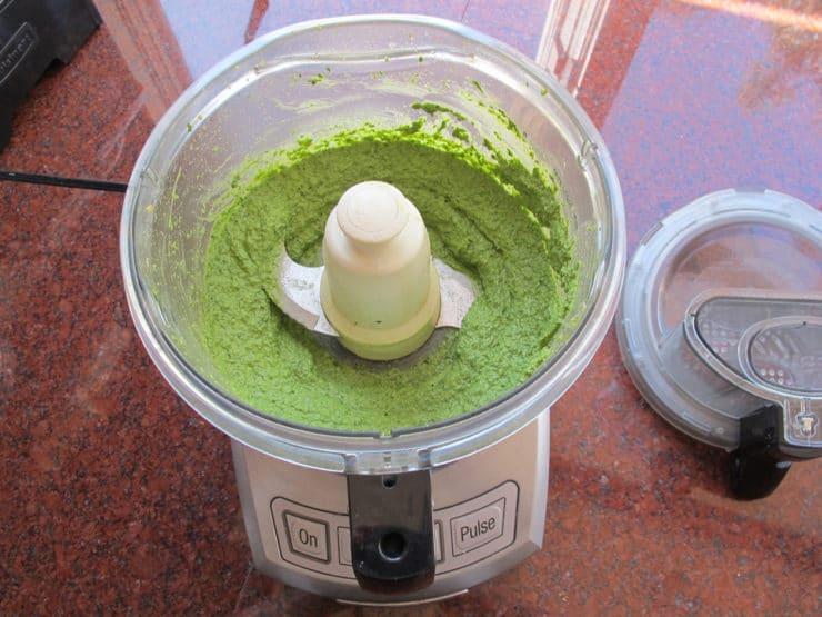 Creamy pesto in a food processor.
