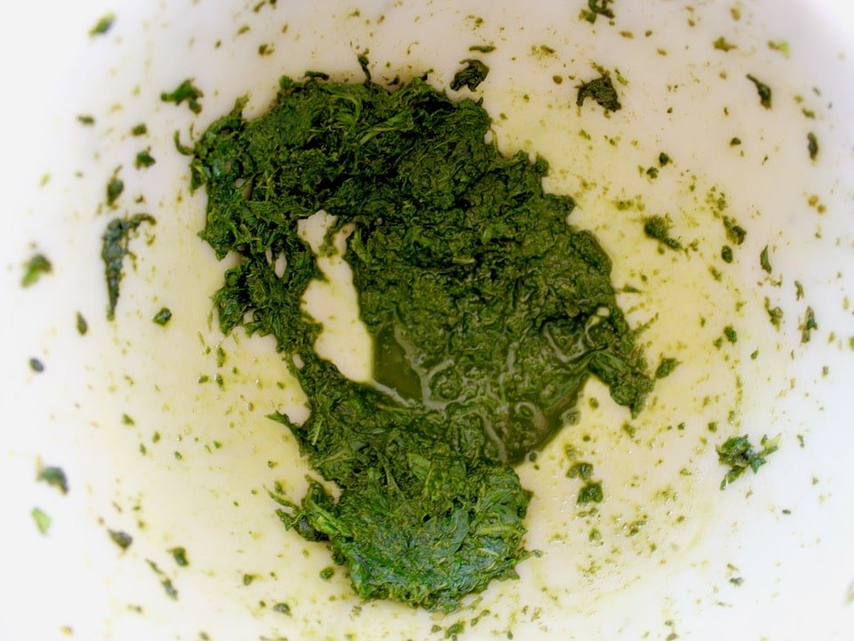Basil pulverized in pestle - close up - with basil juices collecting.