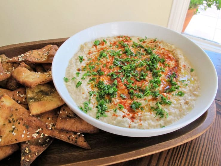 Classic baba ghanoush dip with smoky roasted eggplant, tahini, garlic ...