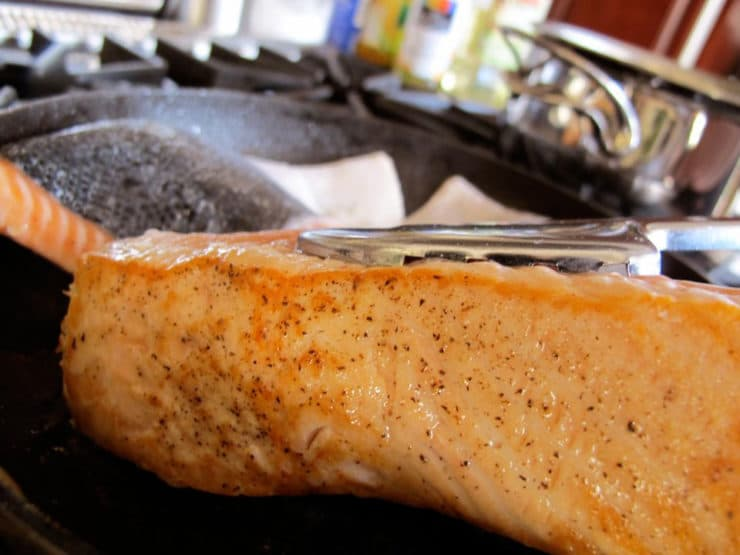 Brown crust on salmon fillets.