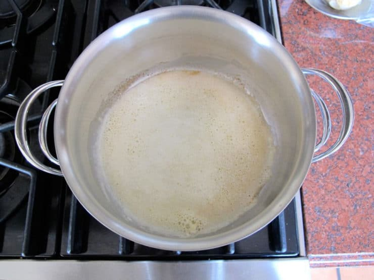 Melted butter and flour in a saucepan.