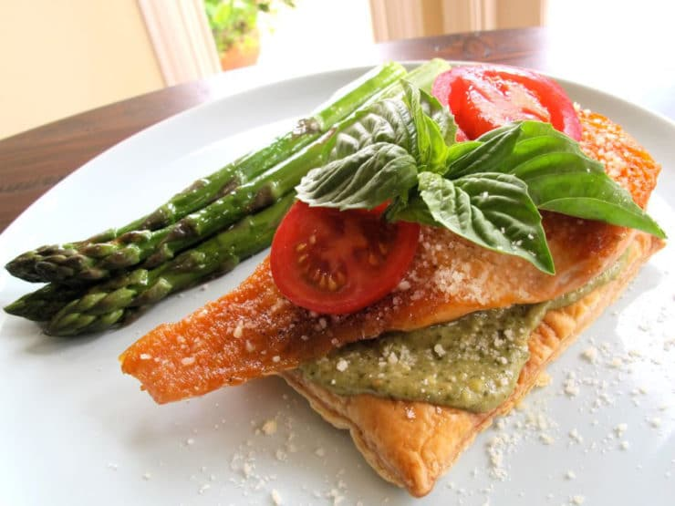 Puff Pastry Salmon on a dinner plate.