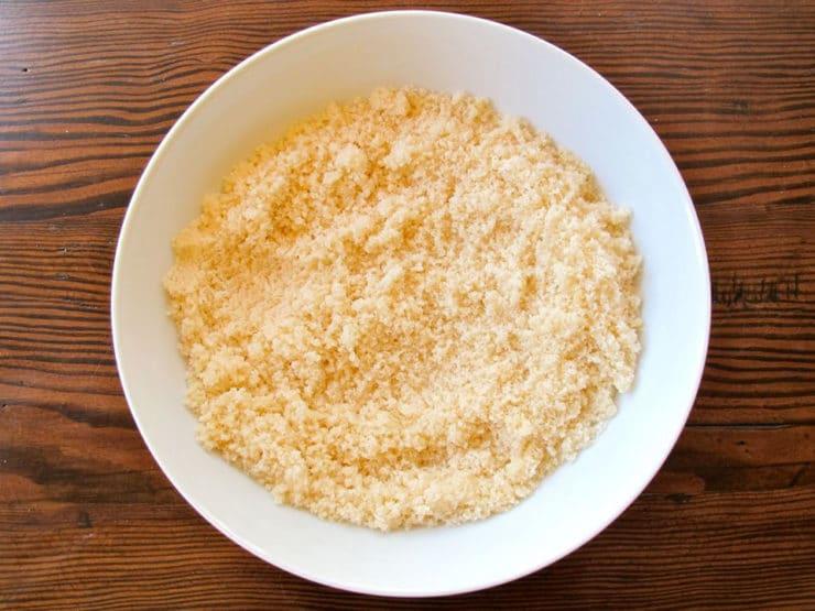 Vanilla and sugar mixed in a bowl.