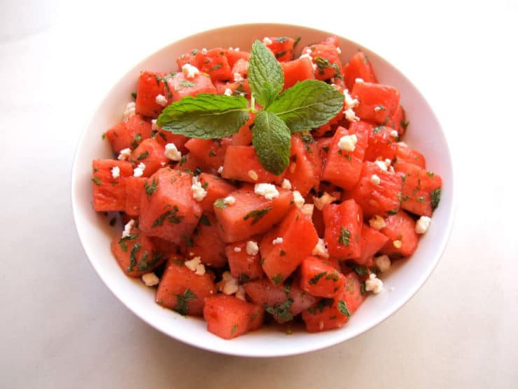 Watermelon Feta Salad with Mint - Salty Sweet Refreshing