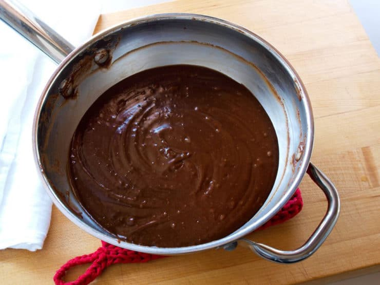 Chocolate pie filling in a saucepan.