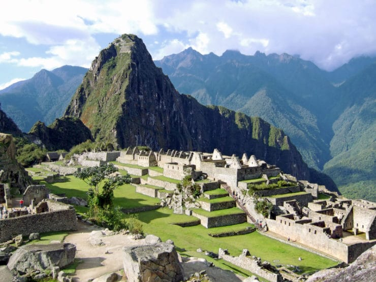 Wide landscape shot of the lost Incan city of Machu Pichu near Cusco, Peru