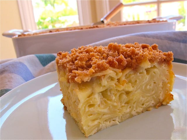 Vanilla Noodle Kugel - Noodle Kugel with Cookie Topping