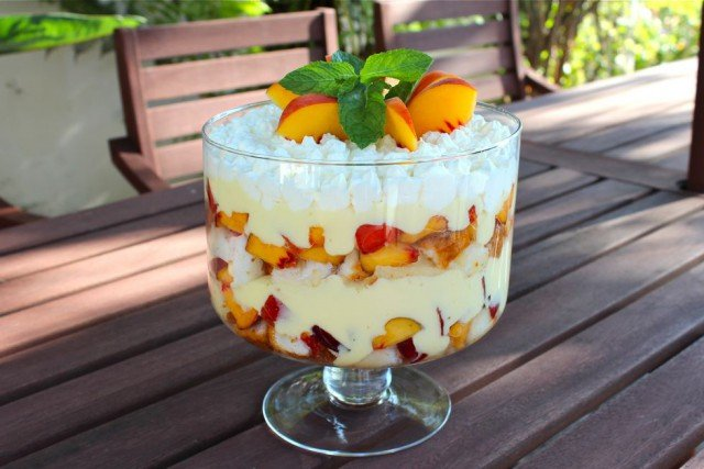 Tipsy Trifle with Peaches and Cream  - This peaches and cream tipsy trifle is cold, creamy, sweet, and just a little bit naughty. Easy, beautiful and impressive make-ahead dessert.