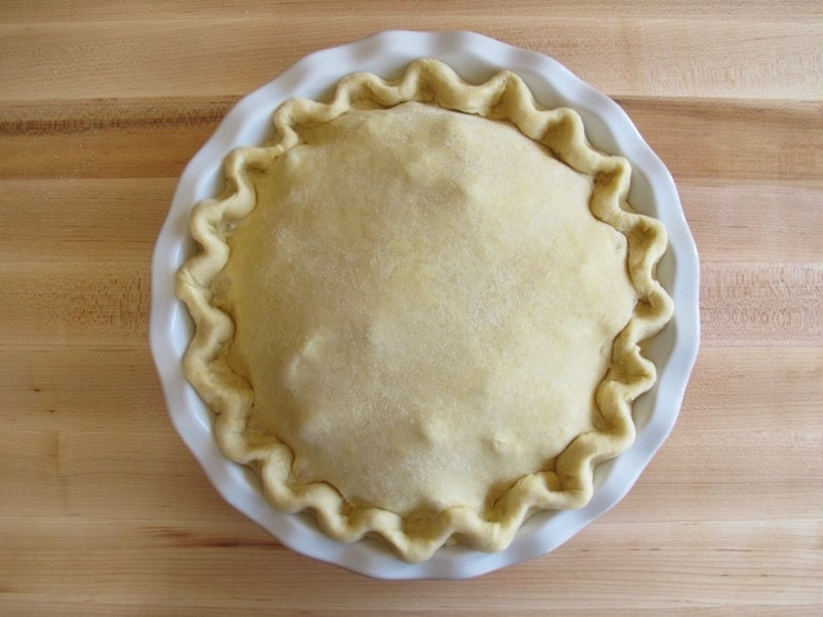 Scalloped edges of pie crust in pie dish.