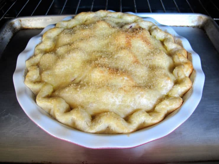 Baked strawberry rhubarb pie.