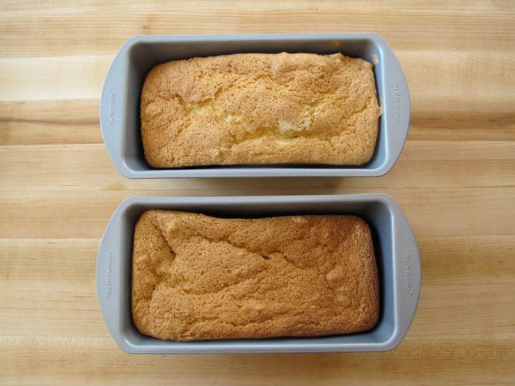 Baked cakes in two loaf pans.