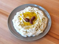 Labneh Cheese with Olives and Za'atar