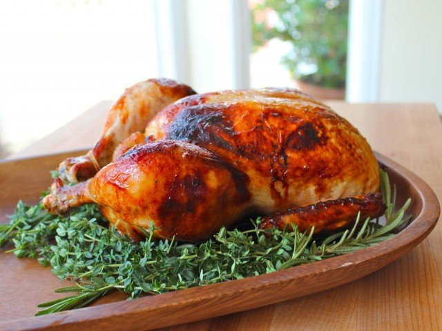 Honey Herb Roasted Chicken - juicy roast chicken with herb honey and white wine sauce. Kosher, Meat, Rosh Hashanah, Passover, Gluten Free.