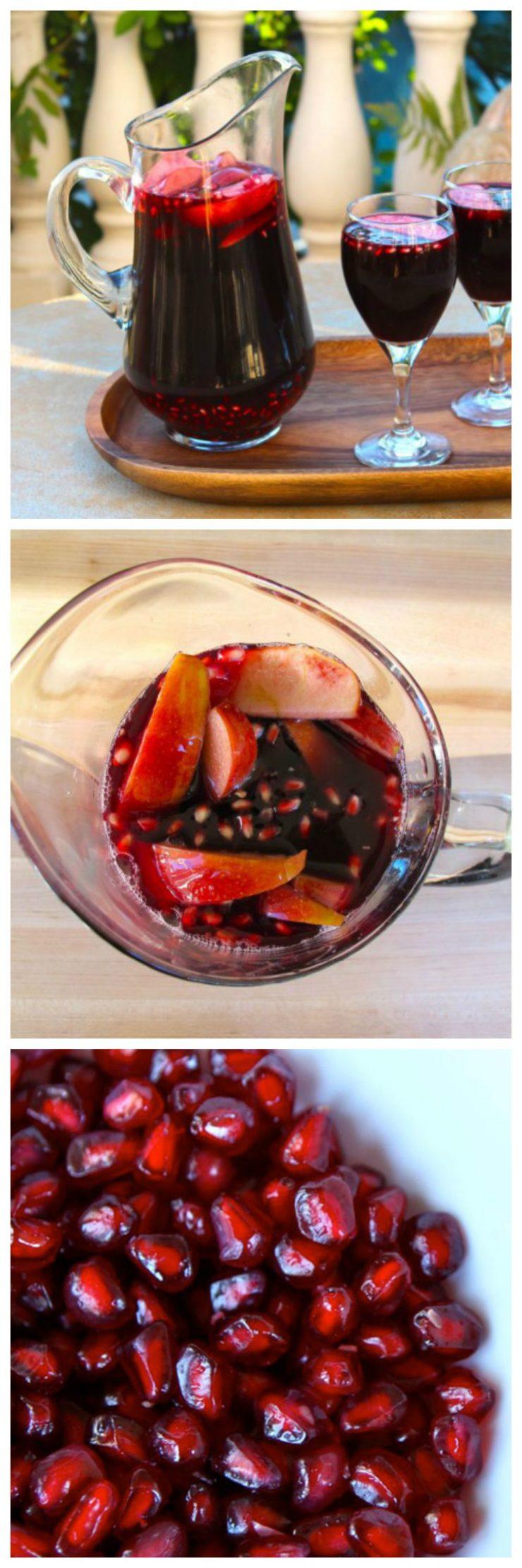 Rosh Hashanah Sangria - Sweetly symbolic sangria recipe for the High Holidays with red wine, pomegranate juice, apple, grapes and honey. Shana Tova!