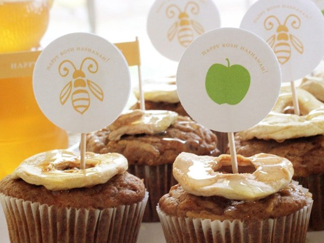 Rosh Hashanah Honey Apple Cupcakes