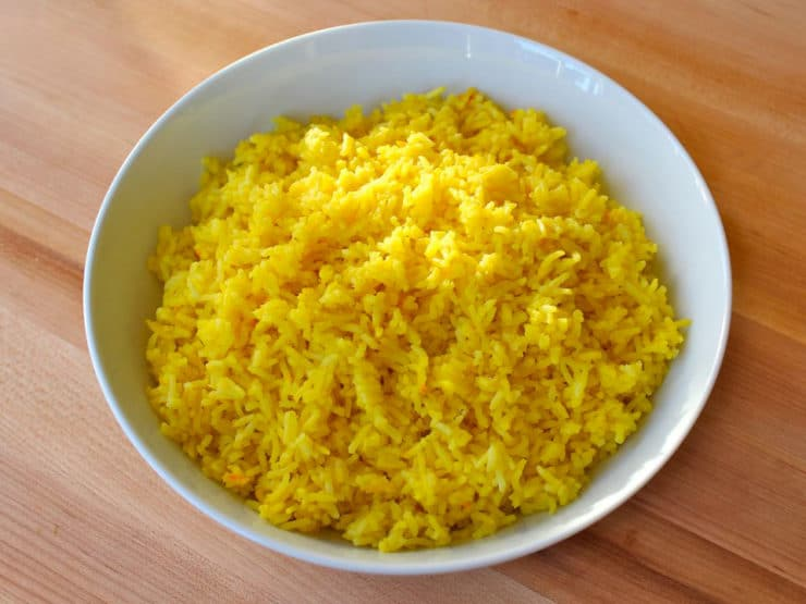 Saffron rice in a bowl.