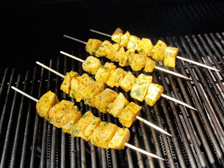 Fish skewers on the grill.