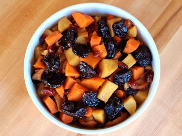 Stovetop Tzimmes - Traditional Jewish tzimmes with yams, sweet potatoes and more. Perfect for Rosh Hashanah, Passover, or any festive occasion. Kosher, Meat or Pareve.