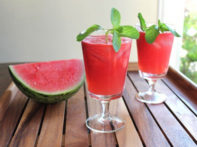 Watermelon Lime Chiller - This cool and refreshing summer drink is made with fresh watermelon, lime juice, sugar and rum. Can be made with alcohol or without.