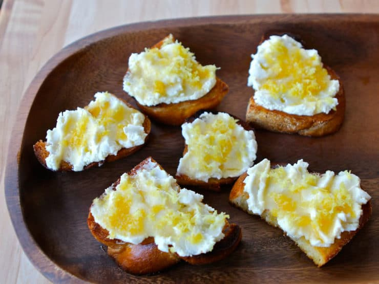 Challah Bruschetta with Lemon Ricotta and Honey - Tori Avey