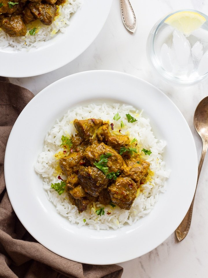 Persian Lamb Stew - Simple stew with meat, turmeric, and chili pepper flakes. Slowly cooked, tender stew over basmati rice. Kosher, meat.