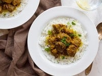 Persian Lamb Stew - Slow-cooked tender meat with turmeric, onions and red pepper flakes. Easy savory recipe.