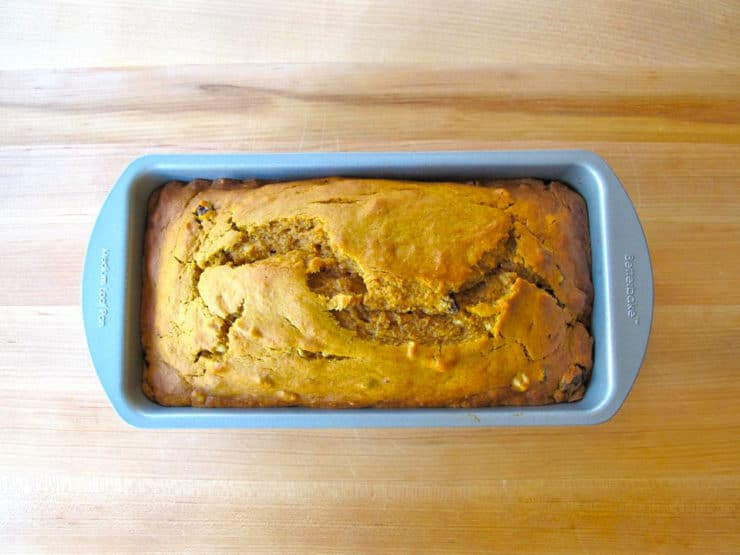 Pumpkin spice cake baked in a loaf pan.