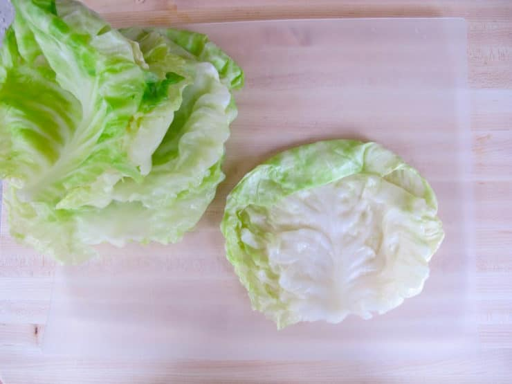 Separating cabbage leaves.