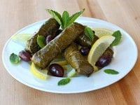 Stuffed Grape Leaves with Lemon and Olives