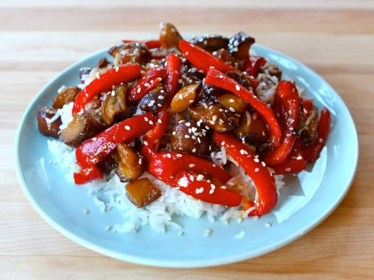 Sweet and sour eggplant sweet and sour eggplant a simple chinese inspired recipe with eggplant red peppers forumfinder Images