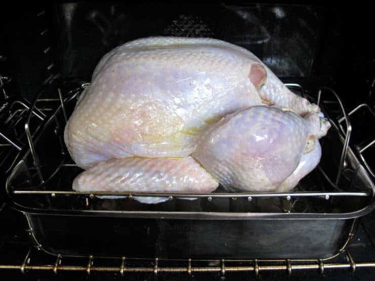 Turkey in roasting pan in the oven.