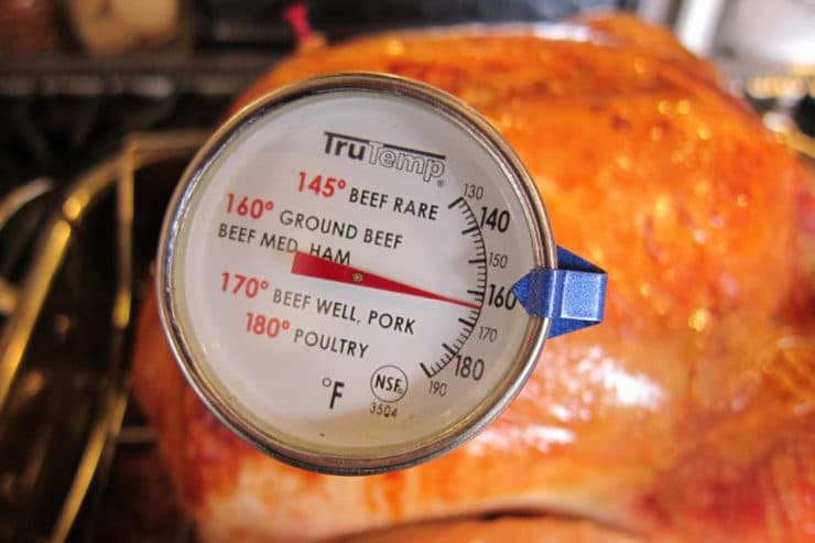 Meat thermometer reading 165 in turkey.