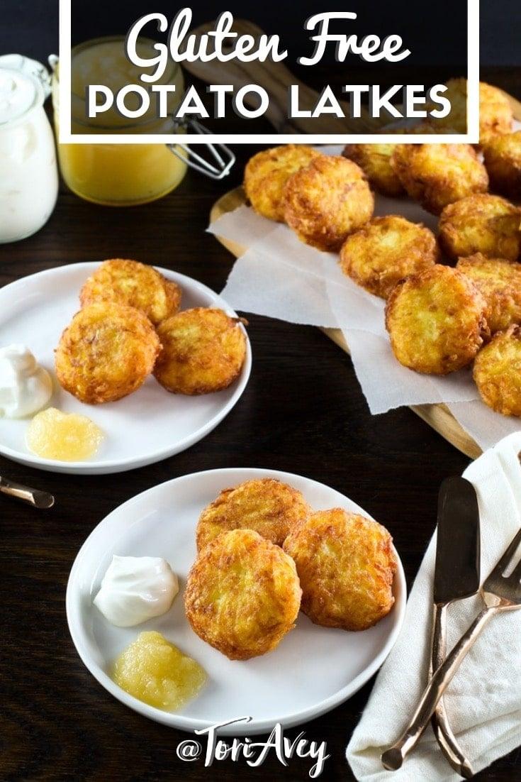 Gluten Free Crispy Yukon Gold Latkes - Learn to make bite-sized potato latkes cooked extra crisp using six simple ingredients. Gluten free, grain free, dairy free. #glutenfree #grainfree #hanukkah #grainfree #latkes #potatopancakes #chanukah