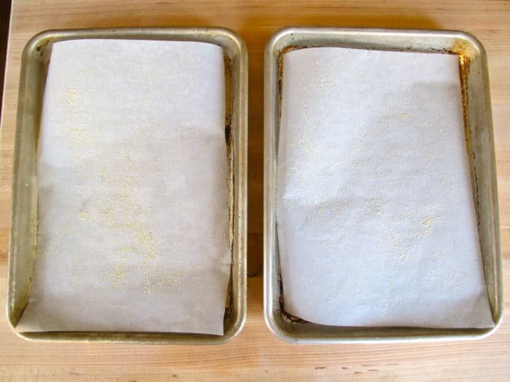 Two small baking sheets lined with parchment.