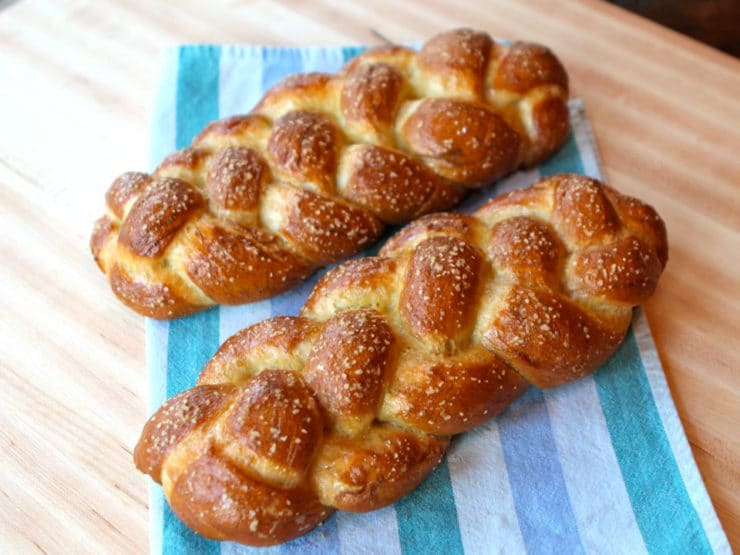 Pretzel Challah - How to make yummy Pretzel Challah bread. Tastes like a soft pretzel, fluffy egg dough with a beautiful braided challah shape. Kosher, pareve.