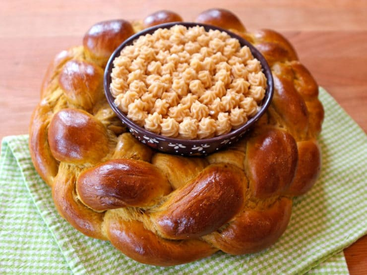 Pumpkin Challah Centerpiece - Learn to make a lovely edible centerpiece with decorative cinnamon honey butter for your holiday table. Kosher, Dairy or Pareve.