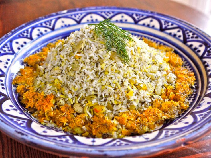 Persian Dill and Lima Bean Rice - Basmati rice with dill, lima beans and a crispy tahdig. Kosher, Pareve, Healthy, Vegan, Vegetarian, Gluten Free, Dairy Free.