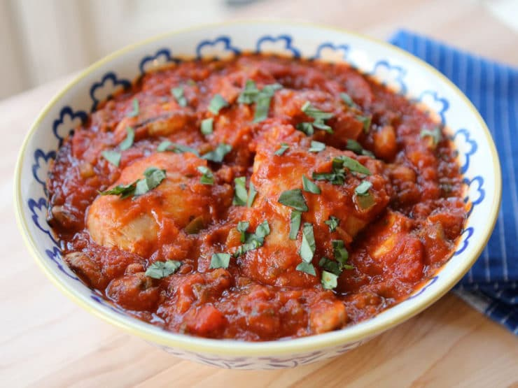 Chicken Catch Me: aka Chicken Cacciatore - Learn to make Italian Chicken Cacciatore in this easy recipe with tomato sauce, peppers, mushrooms, basil, and flavorful herbs. Healthy, Kosher, Meat.
