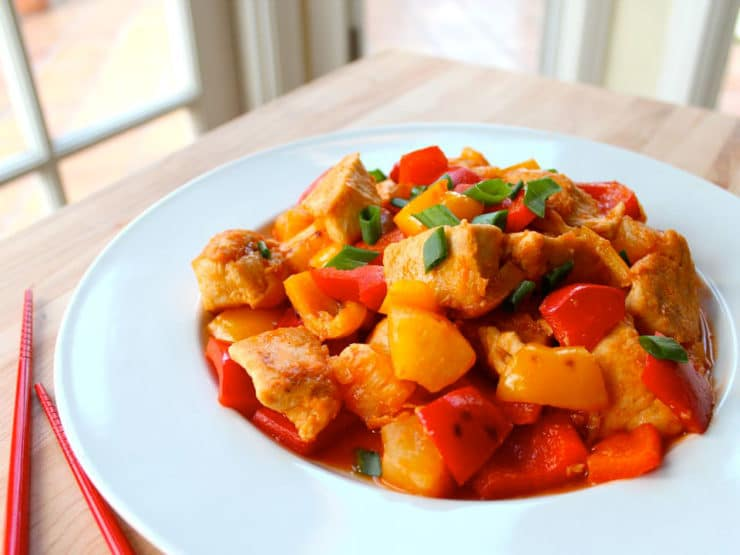 Chinese Sweet and Sour Chicken - Delicious Chinese-American style recipe adapted from The Steamy Kitchen Cookbook by Jaden Hair. Kosher, Meat, Gluten Free, Easy, Healthy.