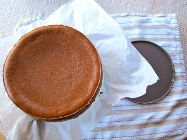 Gently remove cheesecake from springform pan.