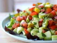 Israeli Salad with Pickles and Mint Close